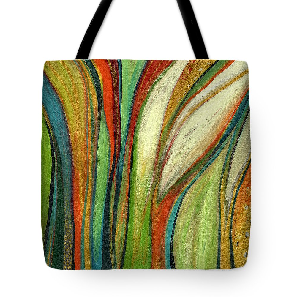 Abstract Tote Bag featuring the painting Finding Paradise by Jennifer Lommers