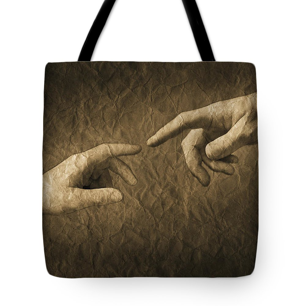 Concept Tote Bag featuring the photograph Fingers Almost Touching by Don Hammond