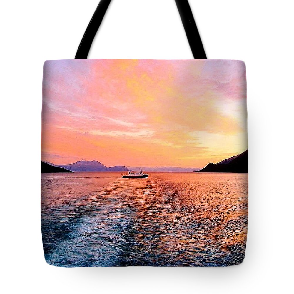 Seascape Tote Bag featuring the photograph Fiord Sunset by Adie F
