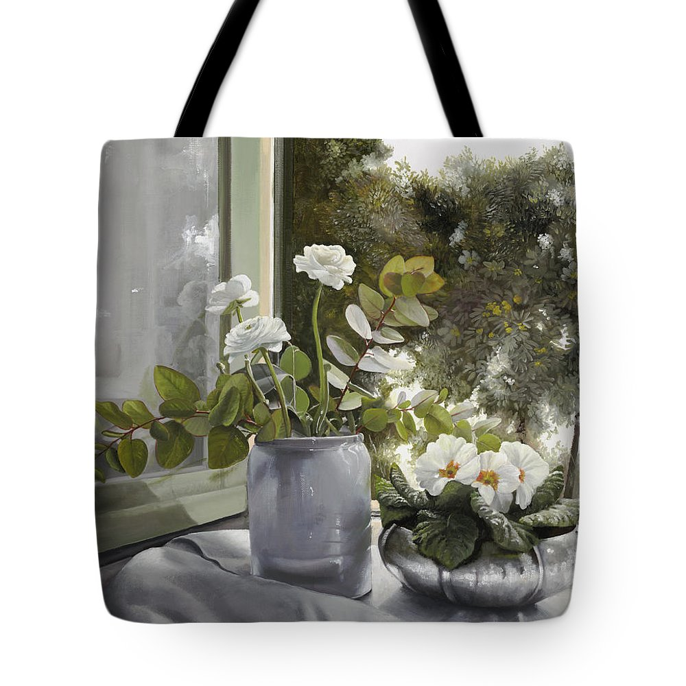 White Flowers Tote Bag featuring the painting Fiori Bianchi Alla Finestra by Guido Borelli