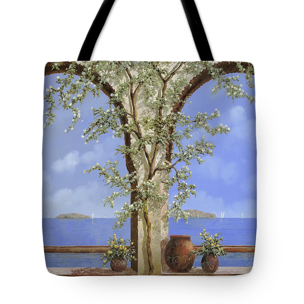 White Flowers Tote Bag featuring the painting Fiori Bianchi Sulla Parete by Guido Borelli