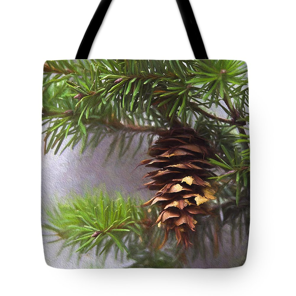 Fir Cone Tote Bag featuring the photograph Fir Cone Digital Painting by Sharon Talson