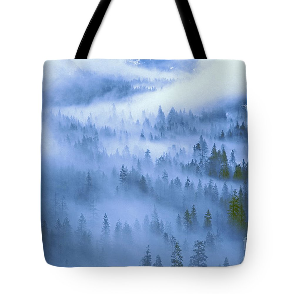 North America Tote Bag featuring the photograph Fir Trees Shrouded In Fog In Yosemite Valley by Dave Welling