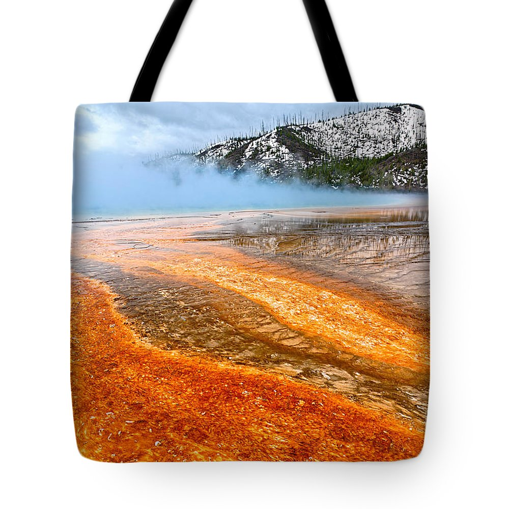 Grand Prismatic Spring Tote Bag featuring the photograph Fire And Ice - Grand Prismatic Spring On A Cloudy Day. by Jamie Pham