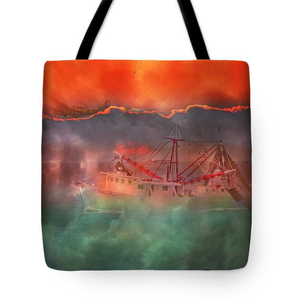 Boat Tote Bag featuring the photograph Fire and Ice Misty Morning by Betsy Knapp