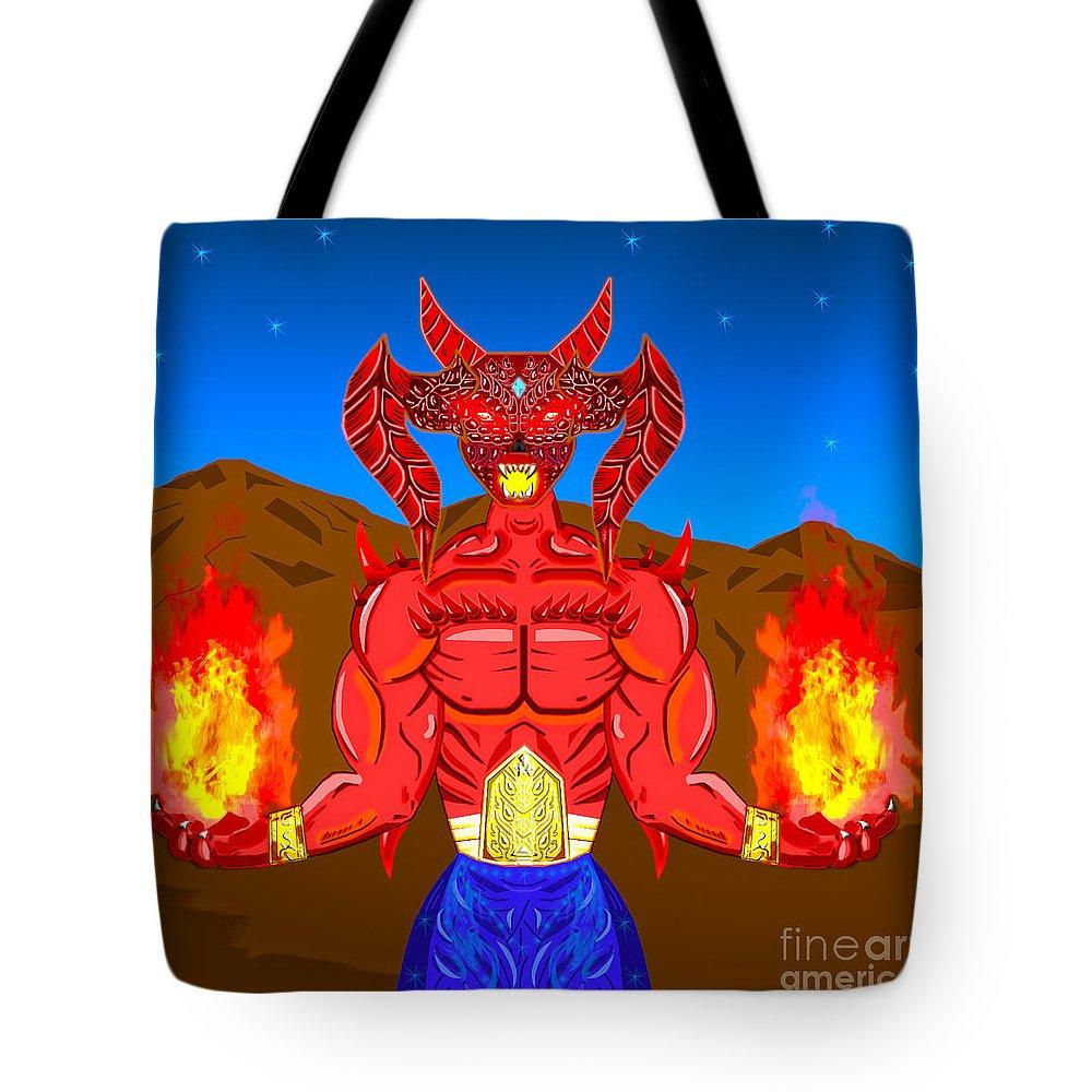Fire Demon Tote Bag featuring the digital art Fire Demon by Goran Bozinovski