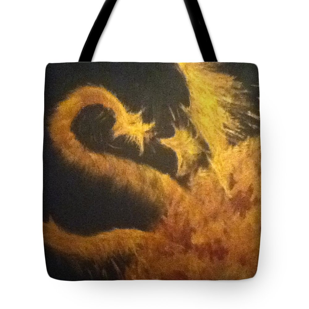 Fire Tote Bag featuring the painting Sun Dragon by Kimberly Vital