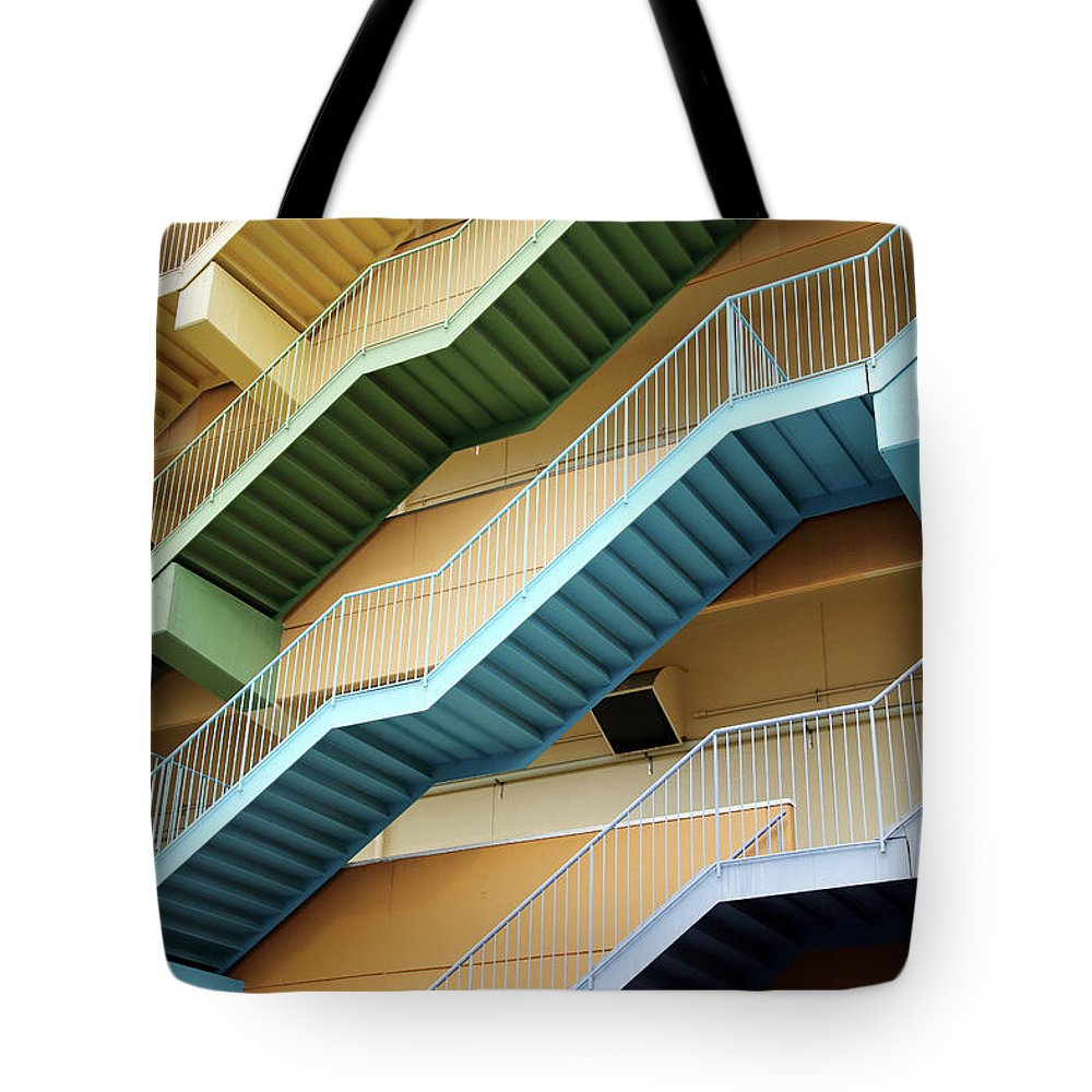Steps Tote Bag featuring the photograph Fire Escape Stairs by Akiyoko