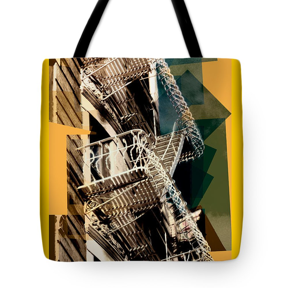 Fire Escapes Tote Bag featuring the photograph Fire Escapes In Blue And Gold by Miriam Danar