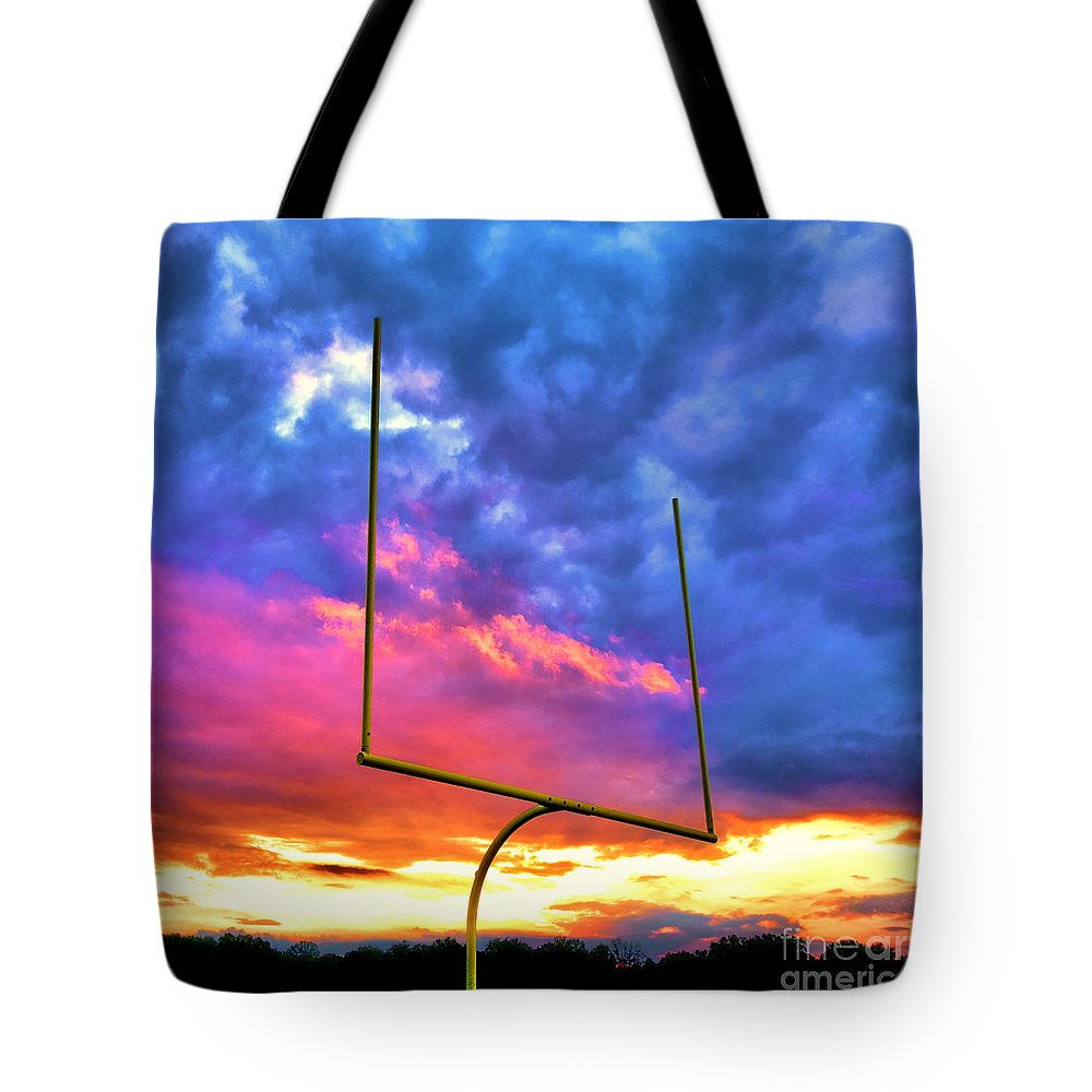 Football Tote Bag featuring the photograph Fire In The Goal by Olivier Le Queinec