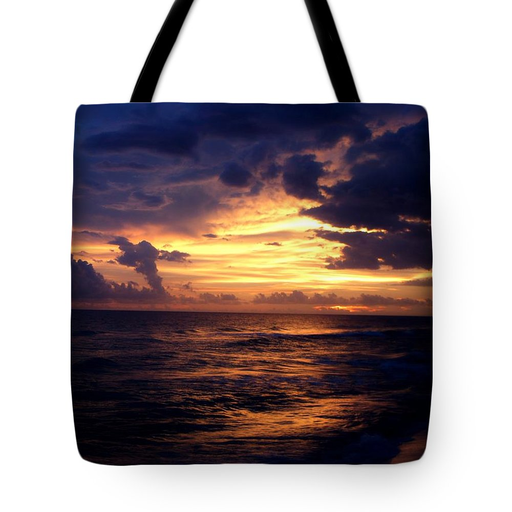 Sunset Tote Bag featuring the photograph Fire In The Sky by CG Abrams