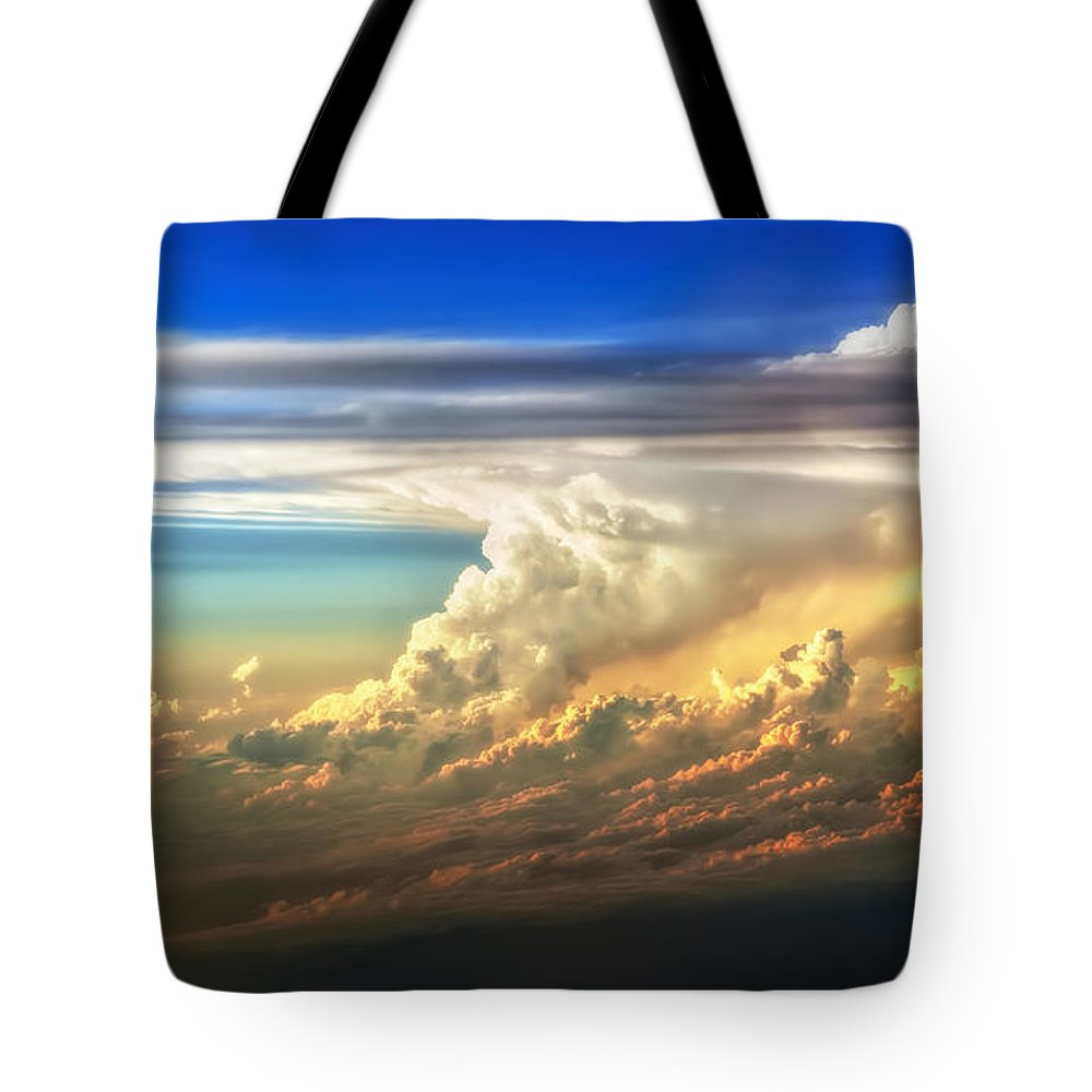 Sunset Tote Bag featuring the photograph Fire in the Sky from 35000 Feet by Scott Norris