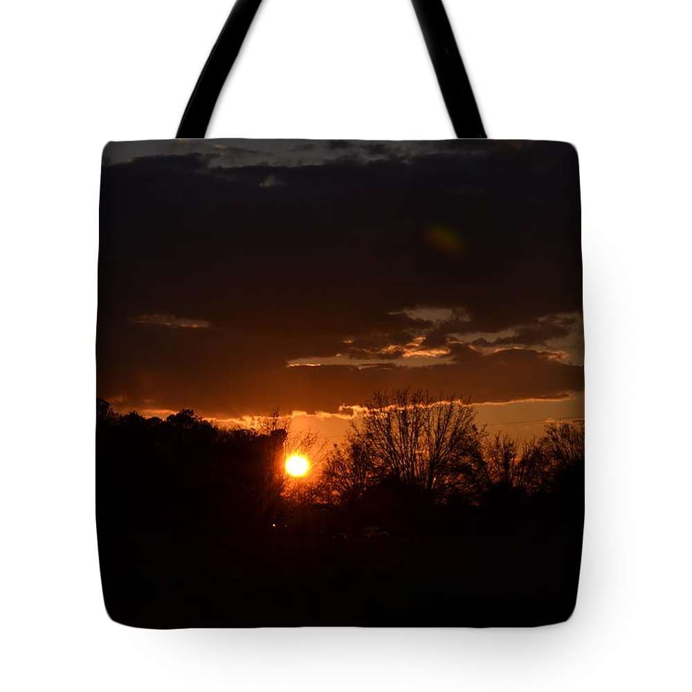 Sunset Tote Bag featuring the photograph Fire In The Sky by Tara Potts