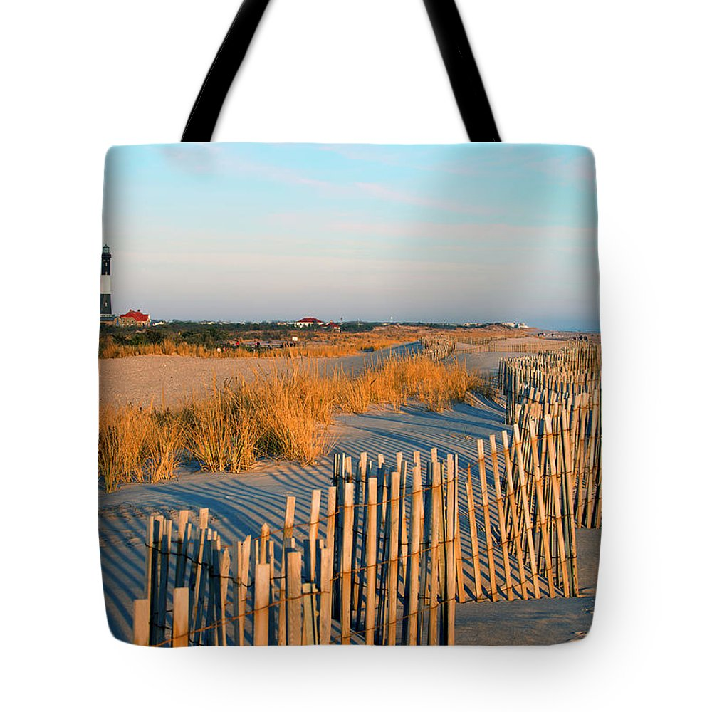 Shadow Tote Bag featuring the photograph Fire Island Lighthouse, Long Island, Ny by Rudi Von Briel