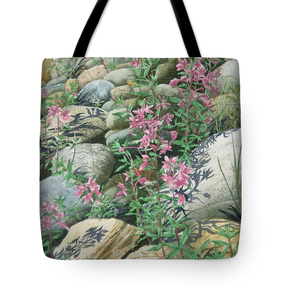 Watercolor Tote Bag featuring the painting Fire On The Rocks by Karen Richardson
