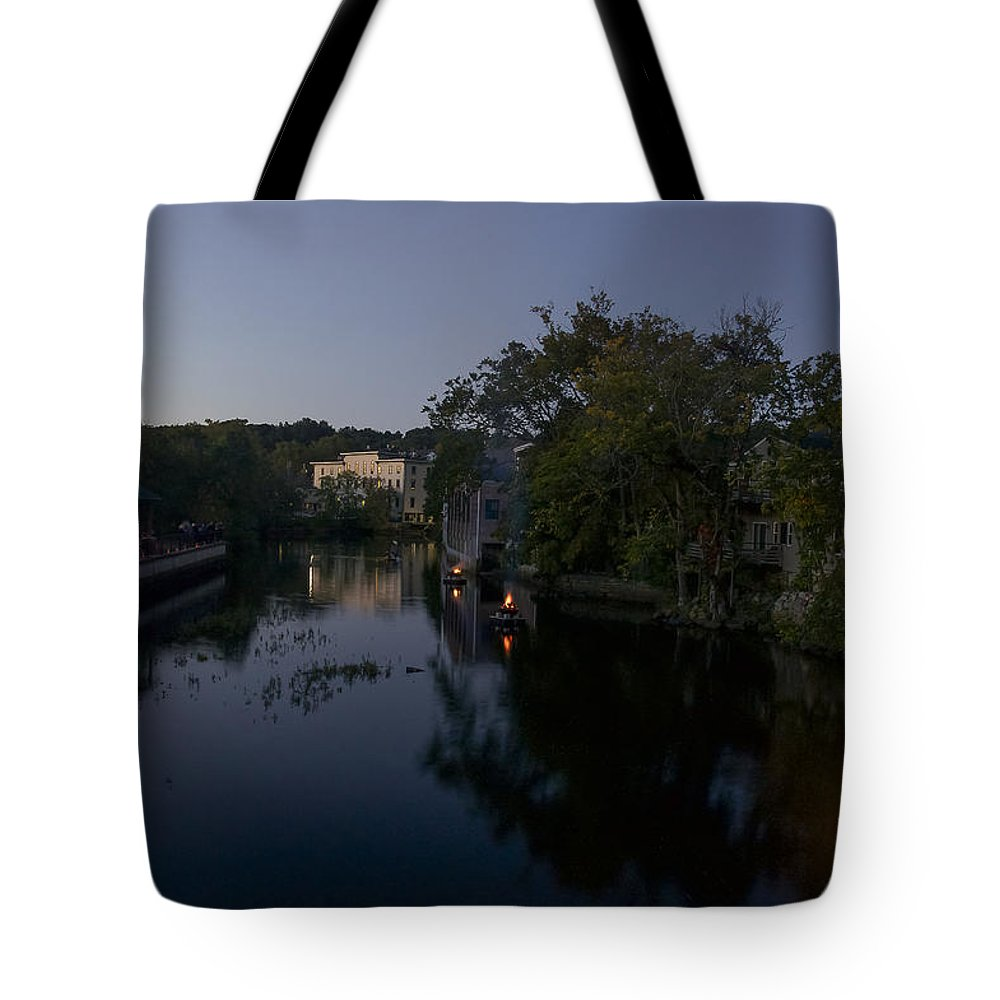 Ipswich Illuminated Tote Bag featuring the photograph Fire On The Water by David Stone