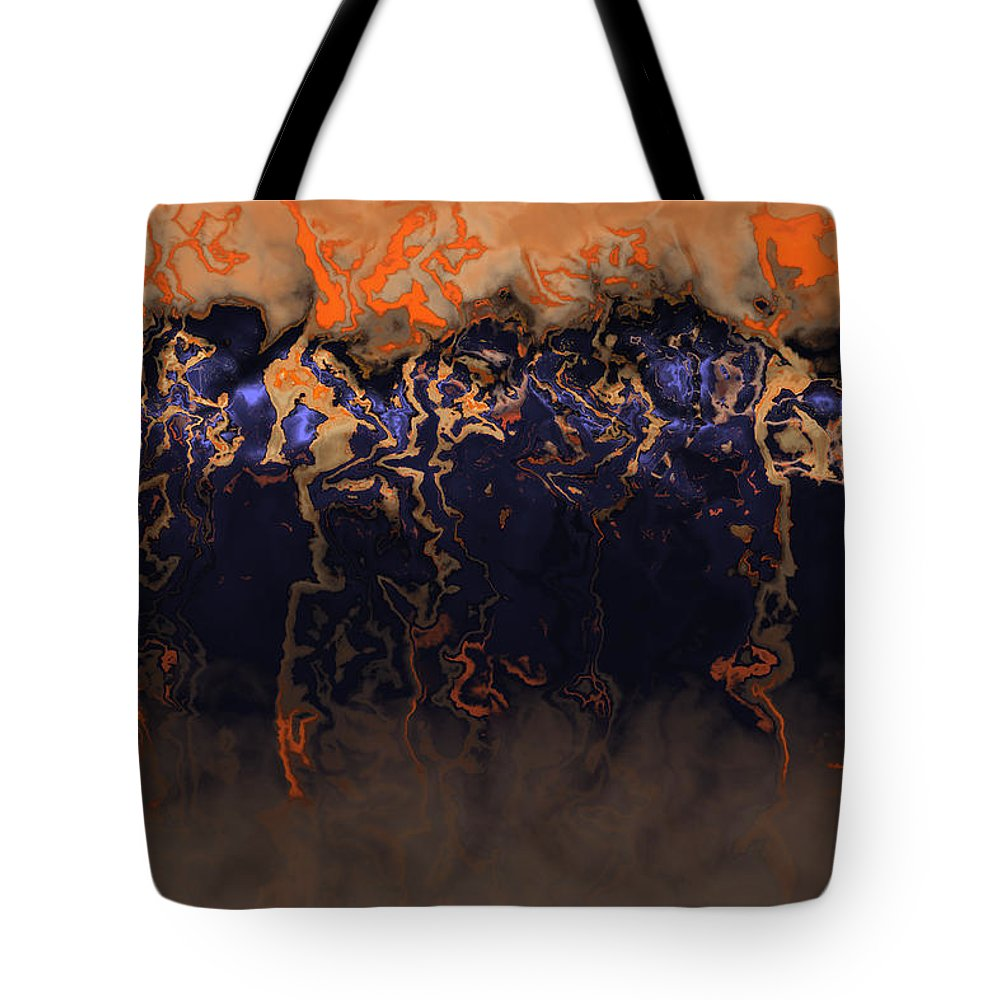 Brown Tote Bag featuring the photograph Fire River by Ann Stretton