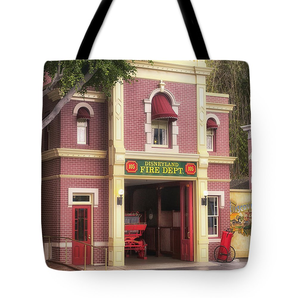 Disney Tote Bag featuring the photograph Fire Station Main Street Disneyland 02 by Thomas Woolworth