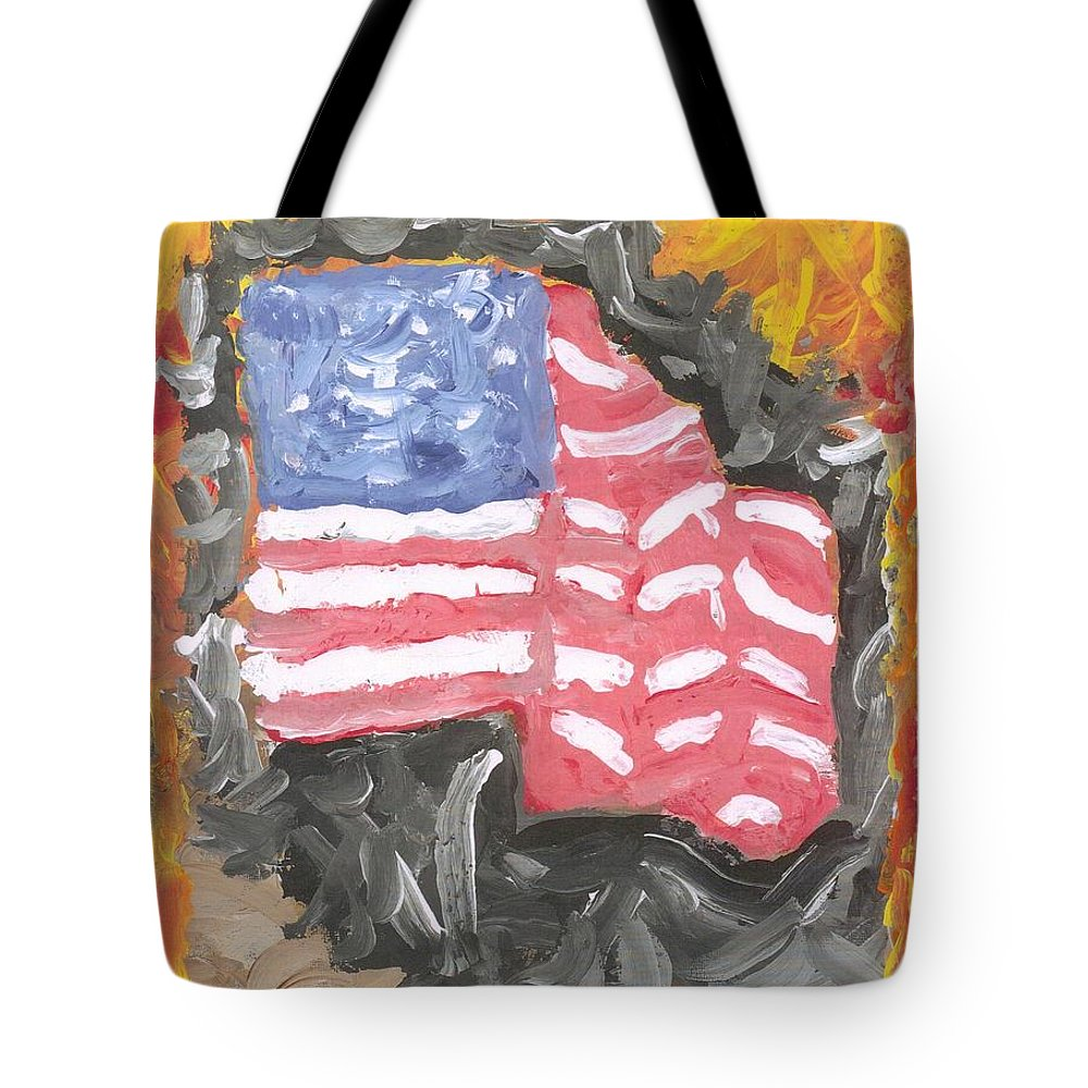 The Flag Through Turmoil Tote Bag featuring the painting Fire Storm Flag by Richard Mangino