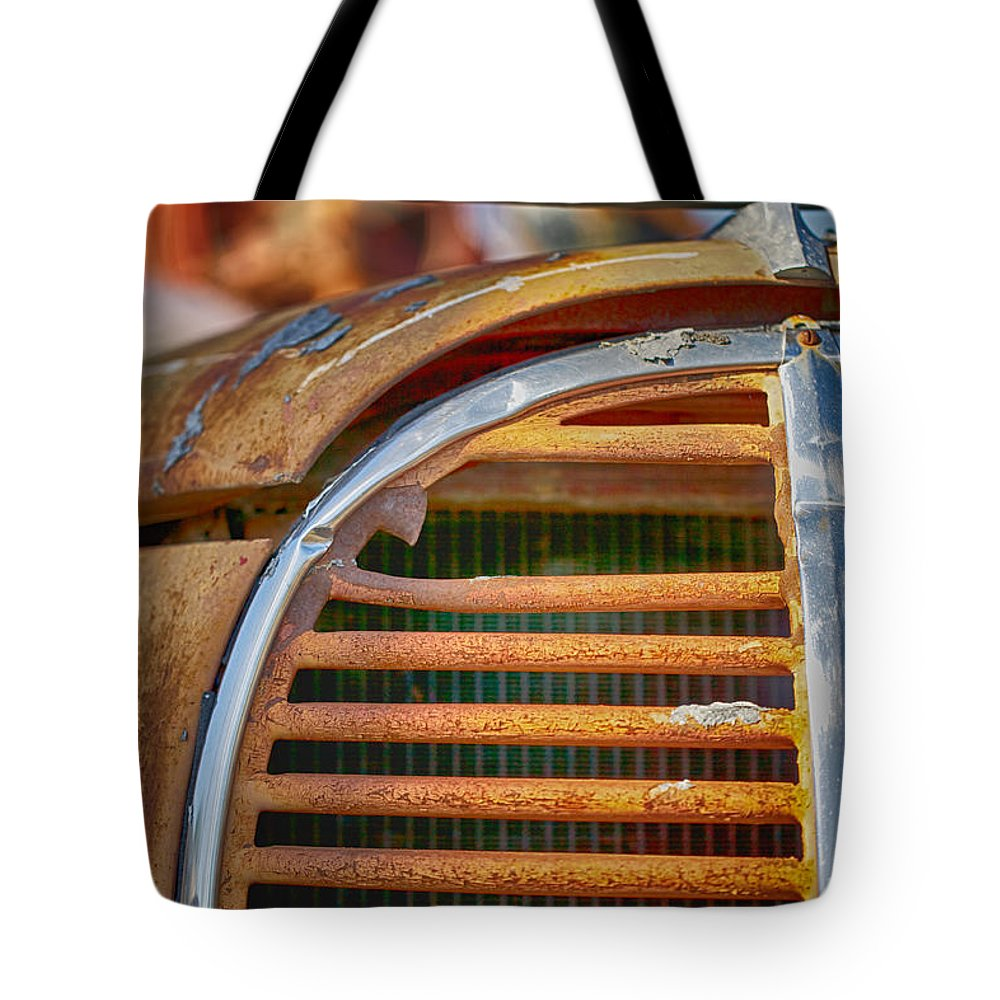 Fire Truck Tote Bag featuring the photograph Fire Truck Grill by Erika Weber