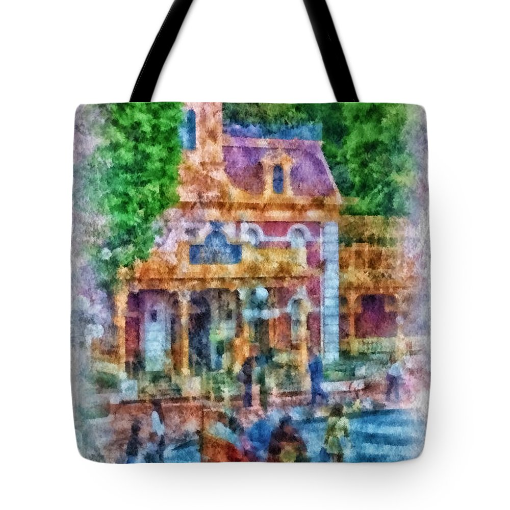 Disney Tote Bag featuring the photograph Fire Truck Main Street Disneyland Photo Art 01 by Thomas Woolworth