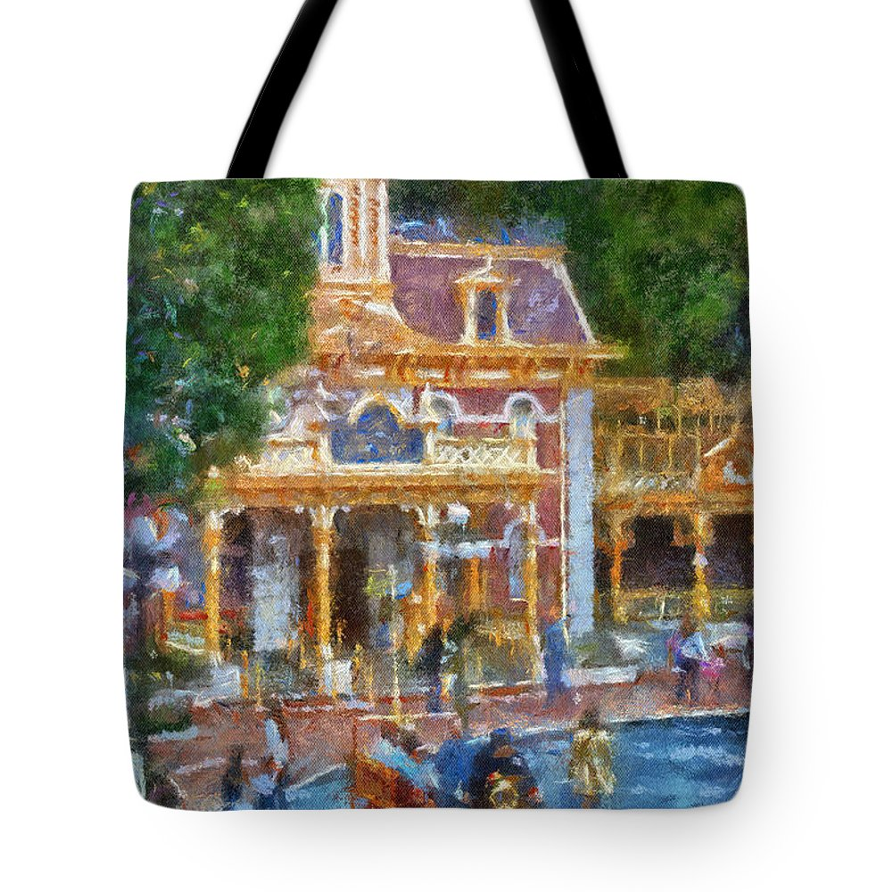 Disney Tote Bag featuring the photograph Fire Truck Main Street Disneyland Photo Art 02 by Thomas Woolworth