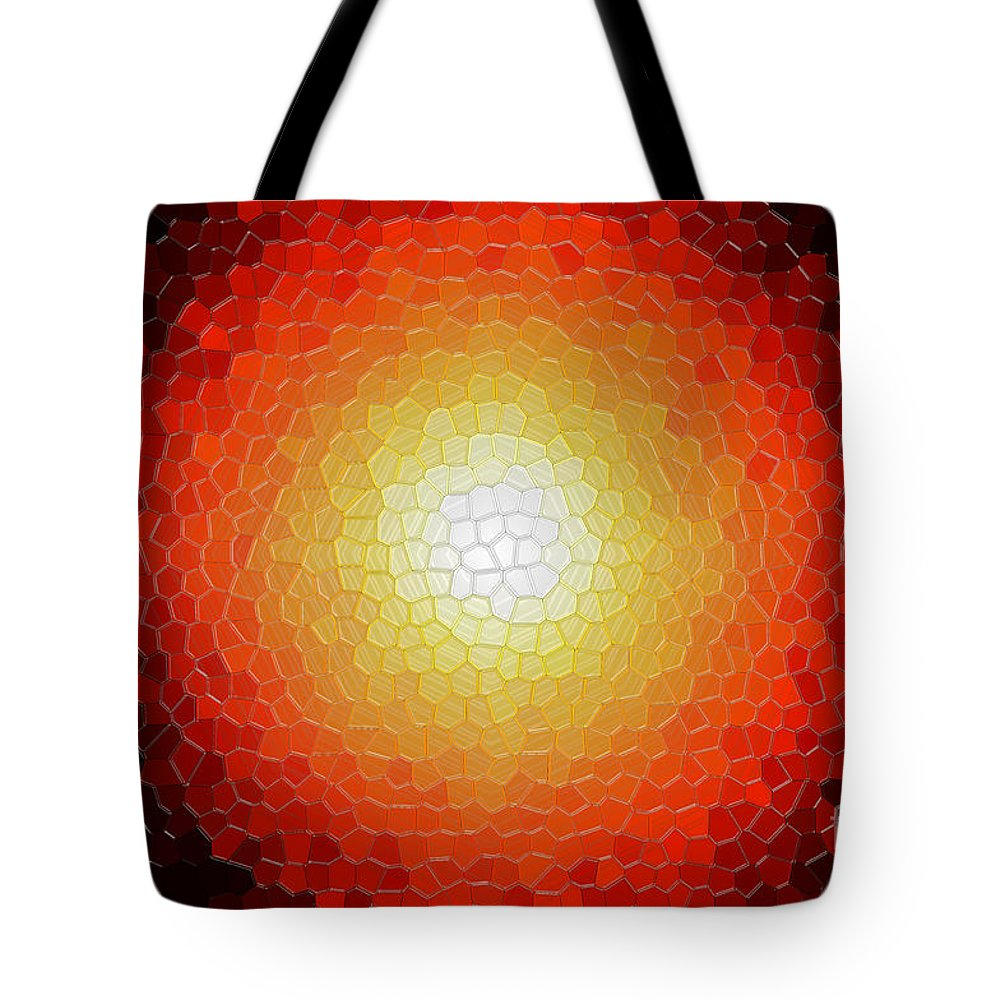 Abstract Tote Bag featuring the photograph Fireball Sunburst A Tiffany Look Stain Glass by Andee Design