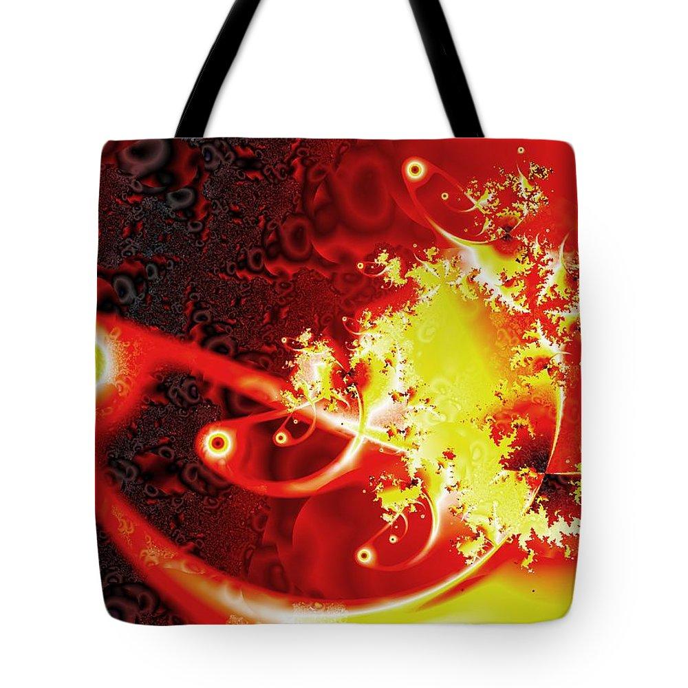 Abstract Tote Bag featuring the digital art Firebirds by Anastasiya Malakhova
