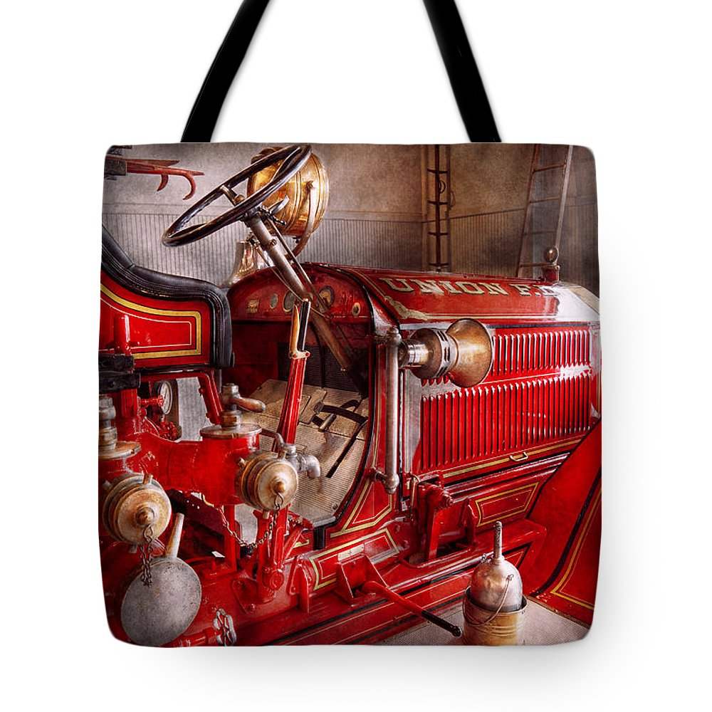 Fireman Tote Bag featuring the photograph Fireman - Truck - Waiting For A Call by Mike Savad