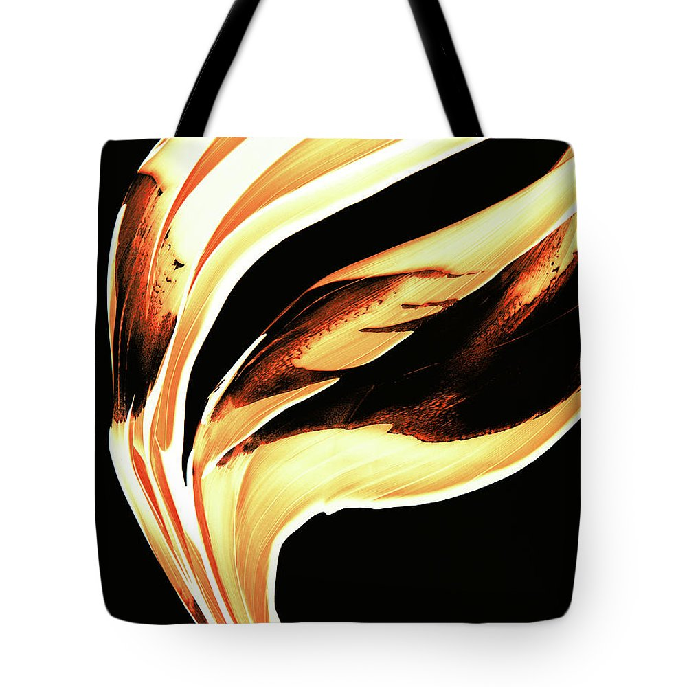 Sharon Cummings Tote Bag featuring the painting Firewater 2 - Buy Orange Fire Art Prints by Sharon Cummings