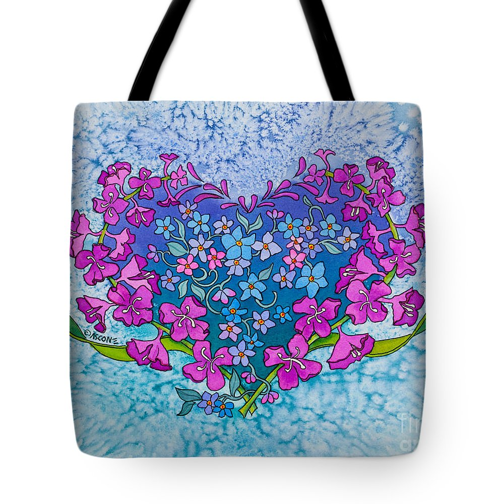 Fireweed Heart Tote Bag featuring the painting Fireweed Heart by Teresa Ascone