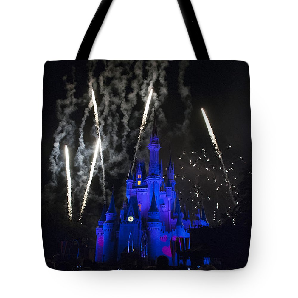 Disney World Tote Bag featuring the photograph Fireworks-0703 by David Lange
