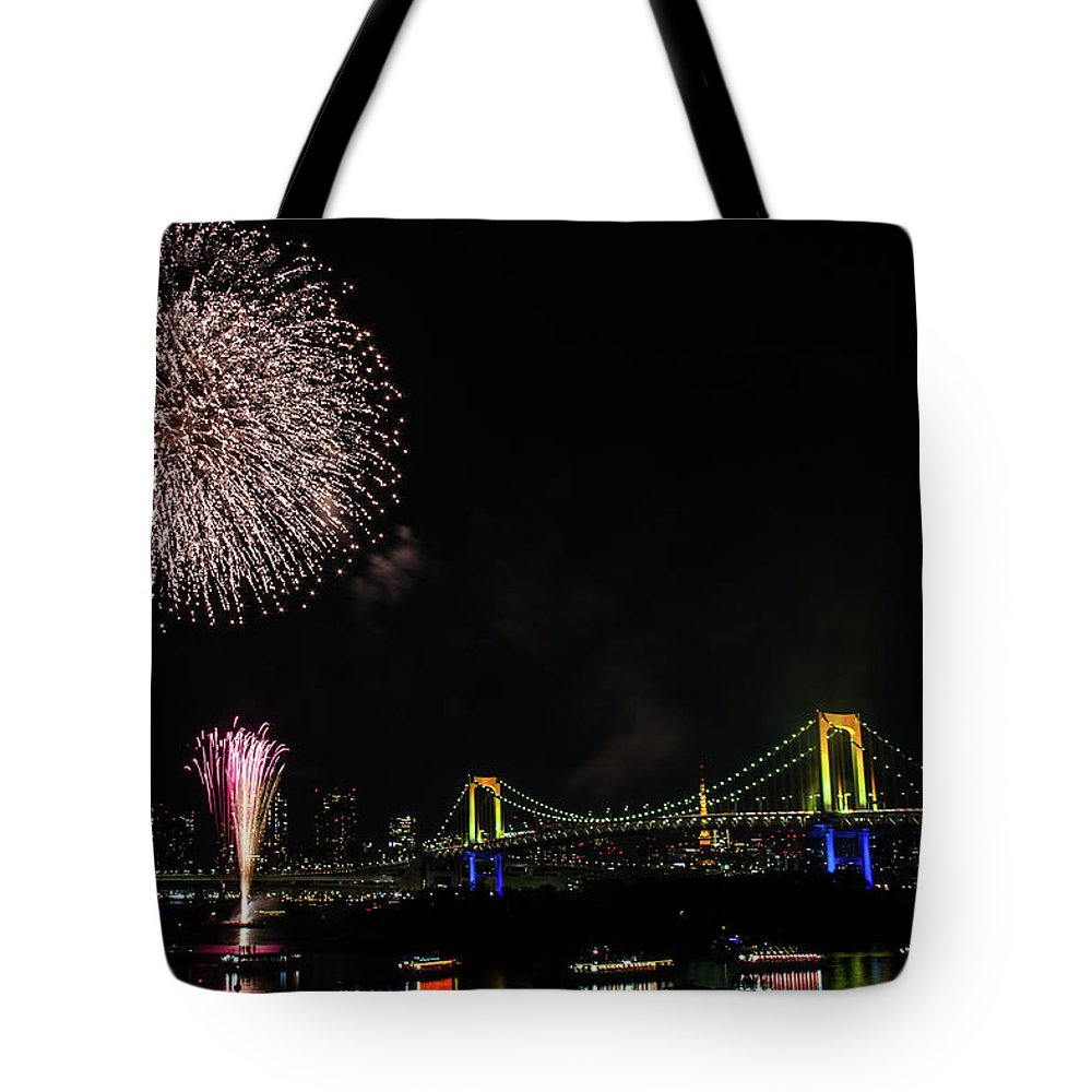 Firework Display Tote Bag featuring the photograph Fireworks At Rainbow Bridge by ©alan Nee