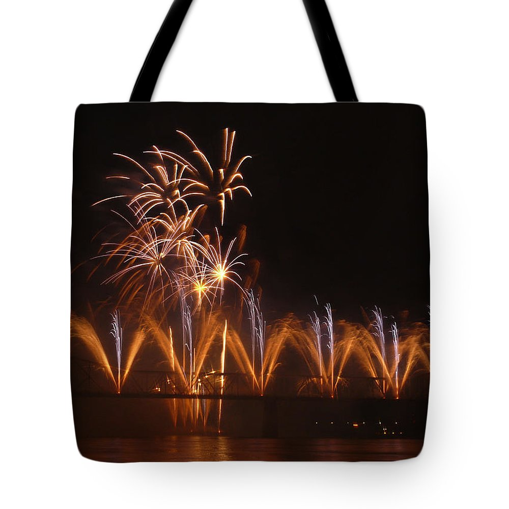 Landscape Tote Bag featuring the photograph Fireworks Fountain by Kevin Jackson
