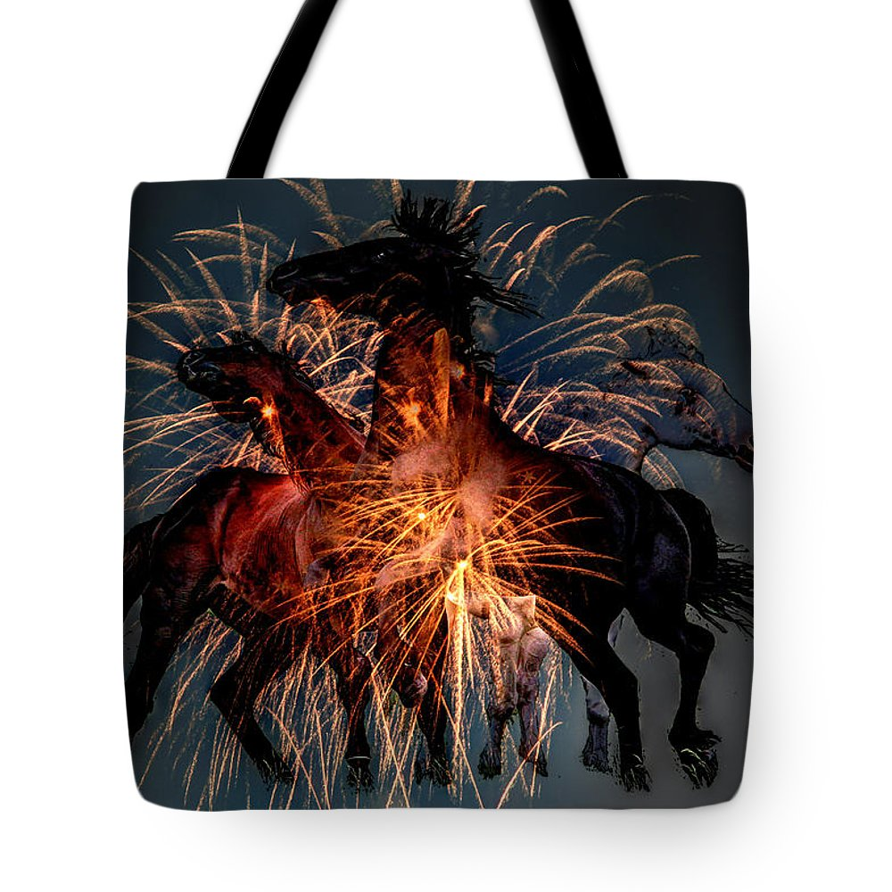 Andrea Lawrence Saskatchewan Artist Tote Bag featuring the digital art Firey Horses by Andrea Lawrence