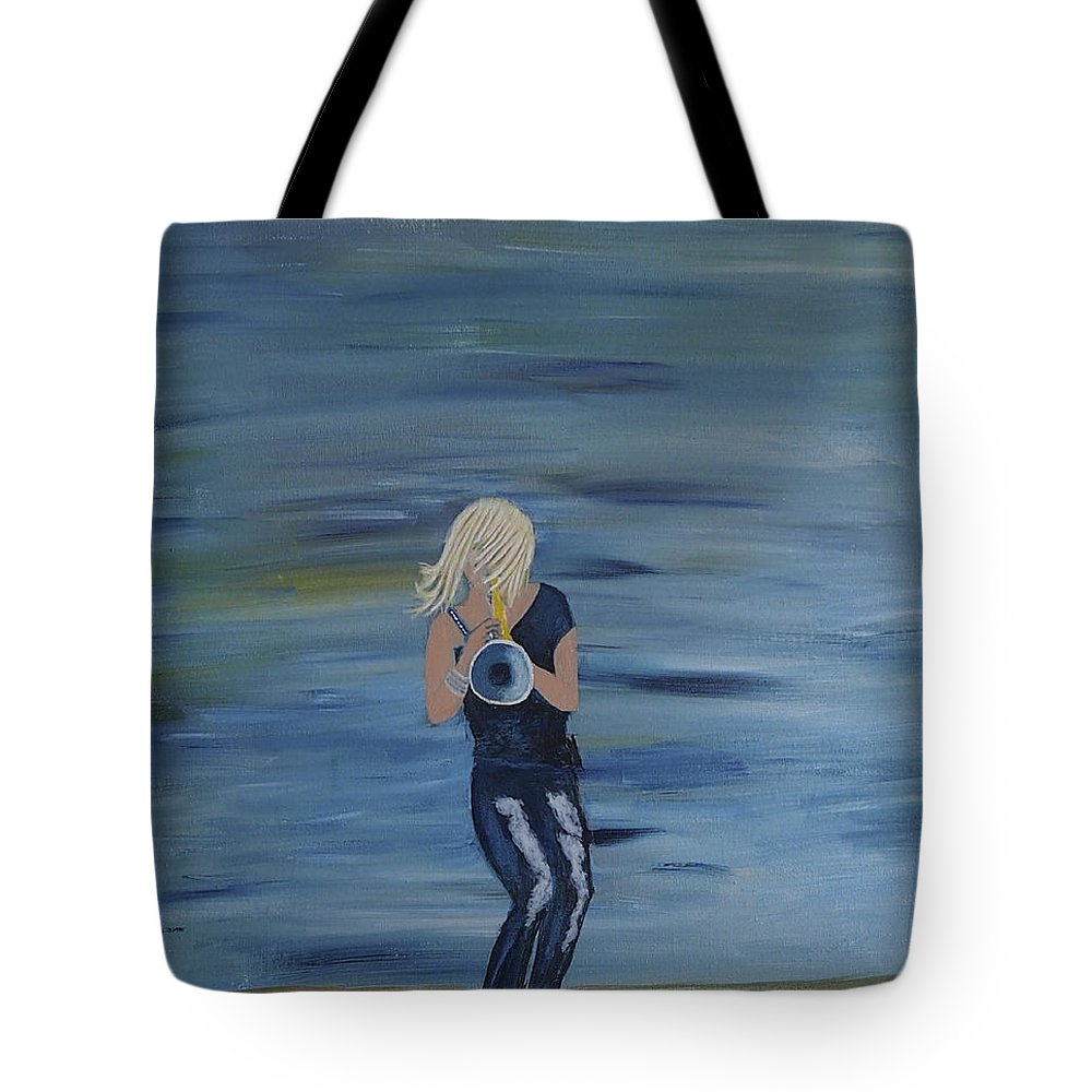 Cindy Bradley Tote Bag featuring the painting Firmly Grounded - Cindy Bradley by Goran Nilsson