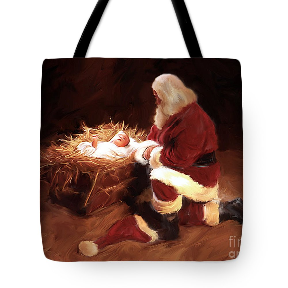 Santa Tote Bag featuring the painting First Christmas by Mark Spears