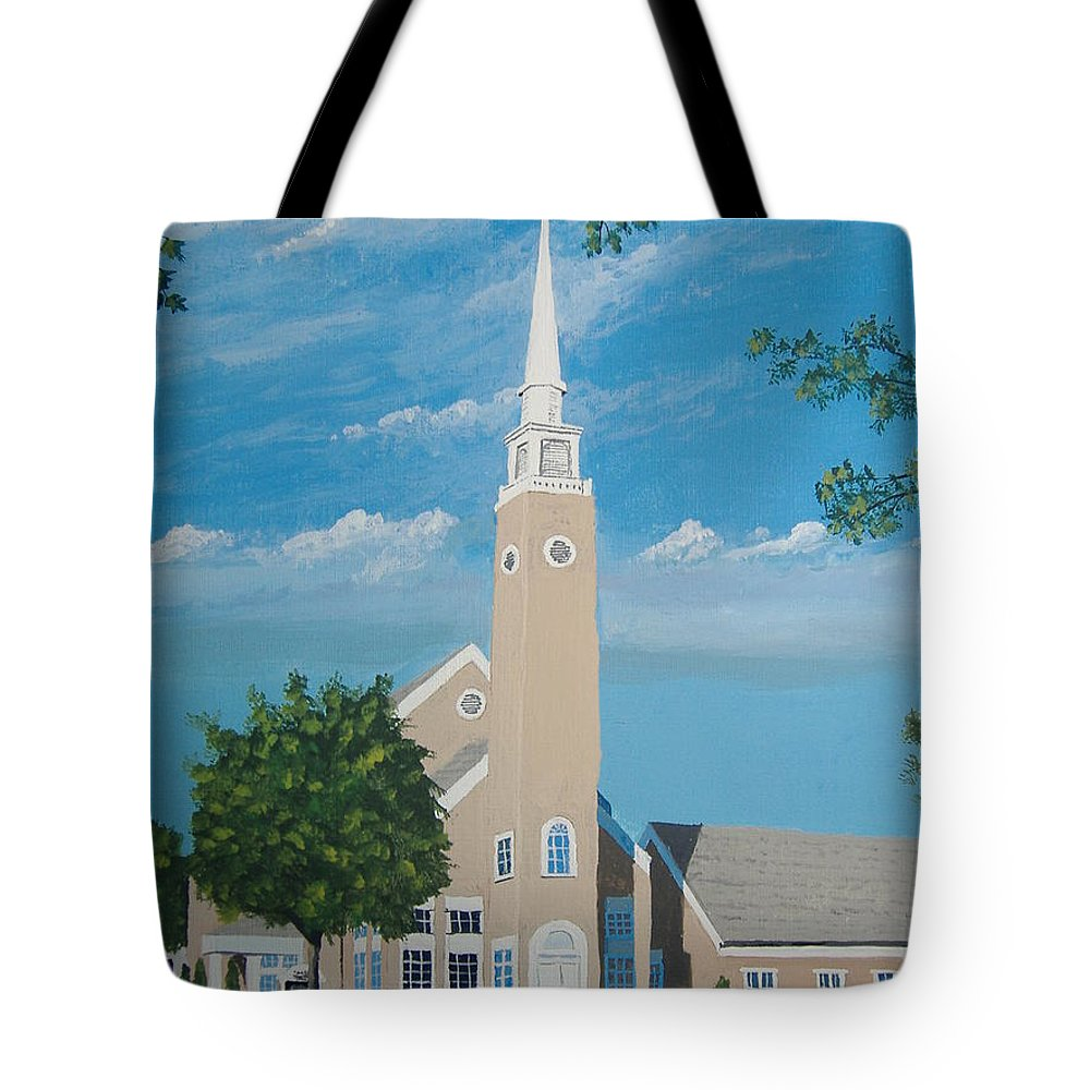 Church Tote Bag featuring the painting First Congregational Church by Norm Starks