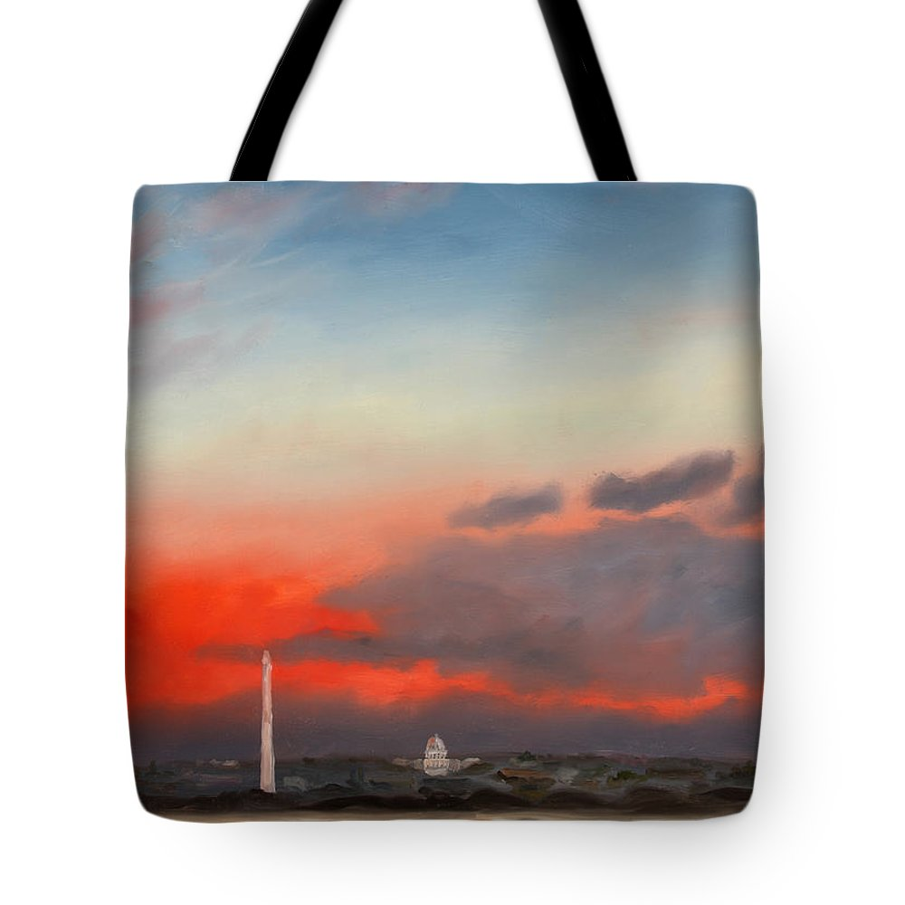 Skyscape Tote Bag featuring the painting Obama Inaugural Sunrise 2 by William Van Doren