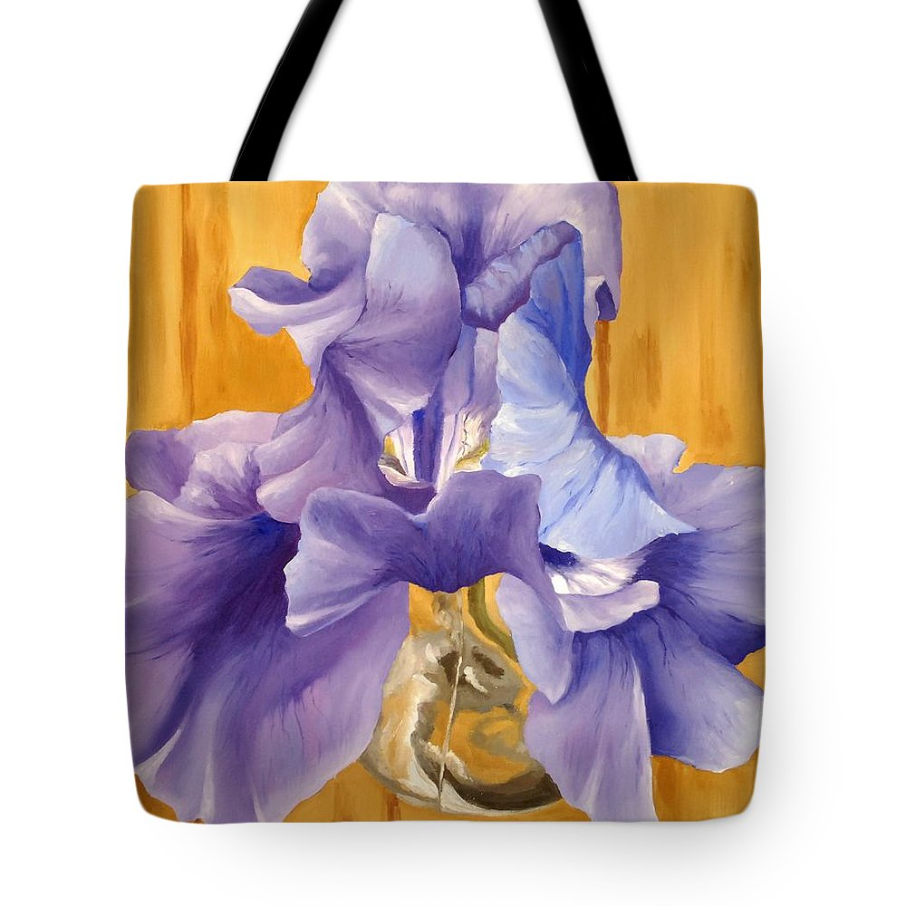 Impressionism Tote Bag featuring the painting First Iris Of The Season by Tessa Barsic