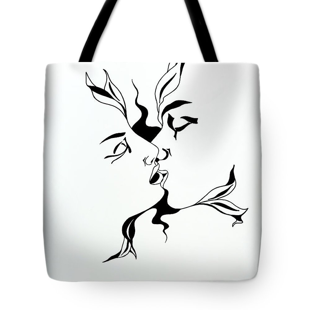 Love Tote Bag featuring the drawing First Kiss by Yelena Tylkina