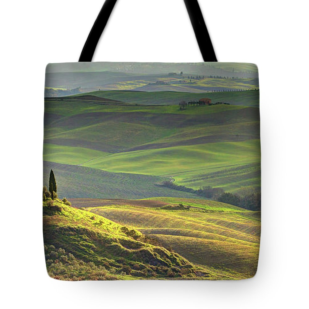 Scenics Tote Bag featuring the photograph First Light In Tuscany by Maurice Ford