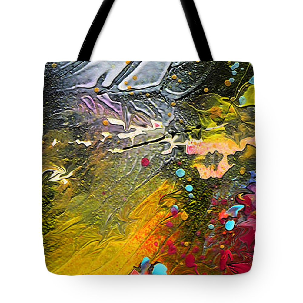 Miki Tote Bag featuring the painting First Light by Miki De Goodaboom