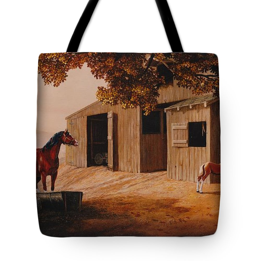 Farm Tote Bag featuring the painting First Meeting by Duane R Probus