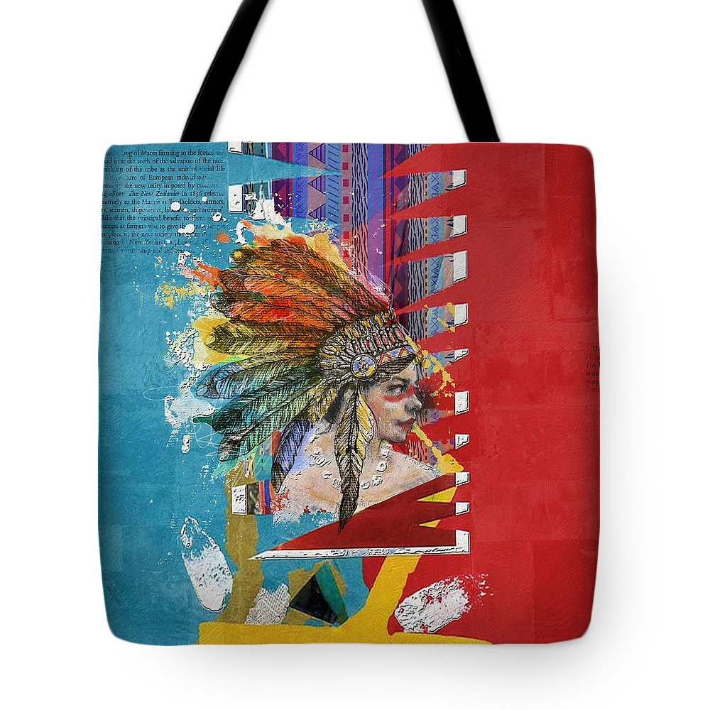 Aboriginals Tote Bag featuring the painting First Nations 31 by Corporate Art Task Force