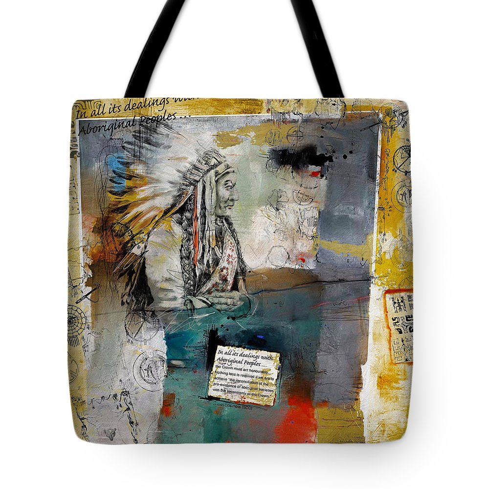 Aboriginals Tote Bag featuring the painting First Nations 34 by Corporate Art Task Force
