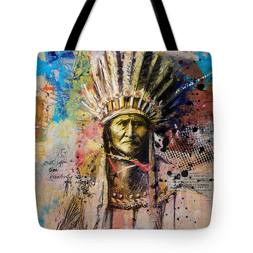 Aboriginals Tote Bag featuring the painting First Nations 6 by Corporate Art Task Force