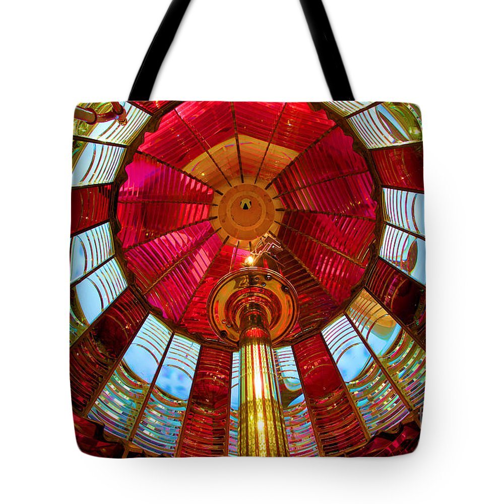 First Order Fresnel Lens Tote Bag featuring the photograph First Order Fresnel Lens by Adam Jewell