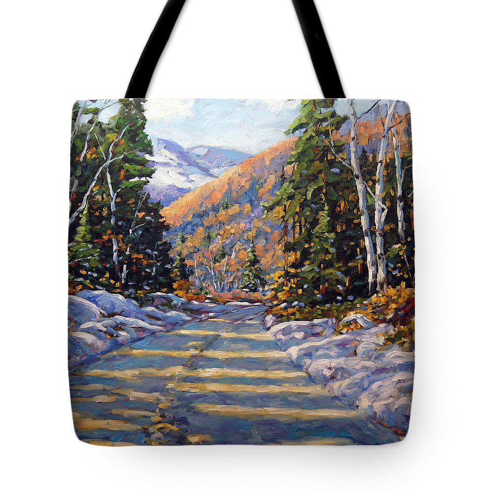 Quebec Tote Bag featuring the painting First Snow By Prankearts by Richard T Pranke
