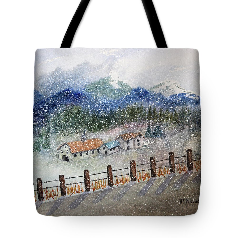 Landscape Tote Bag featuring the painting From The Road by Patricia Novack